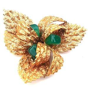 VINTAGE GERMANY 18K GF Green Jade Floral Brooch